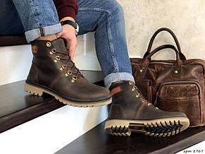 Мужские зимние кожаные ботинки Timberland,Тимберленд,на меху,темно коричневые, фото 3