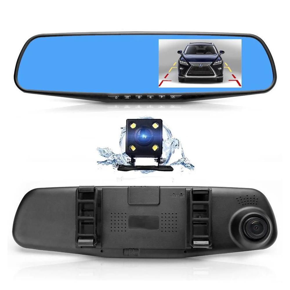 Видеорегистратор в зеркале с камерой заднего вида накладной FULL HD, камера заднего вида, регистратор в машину