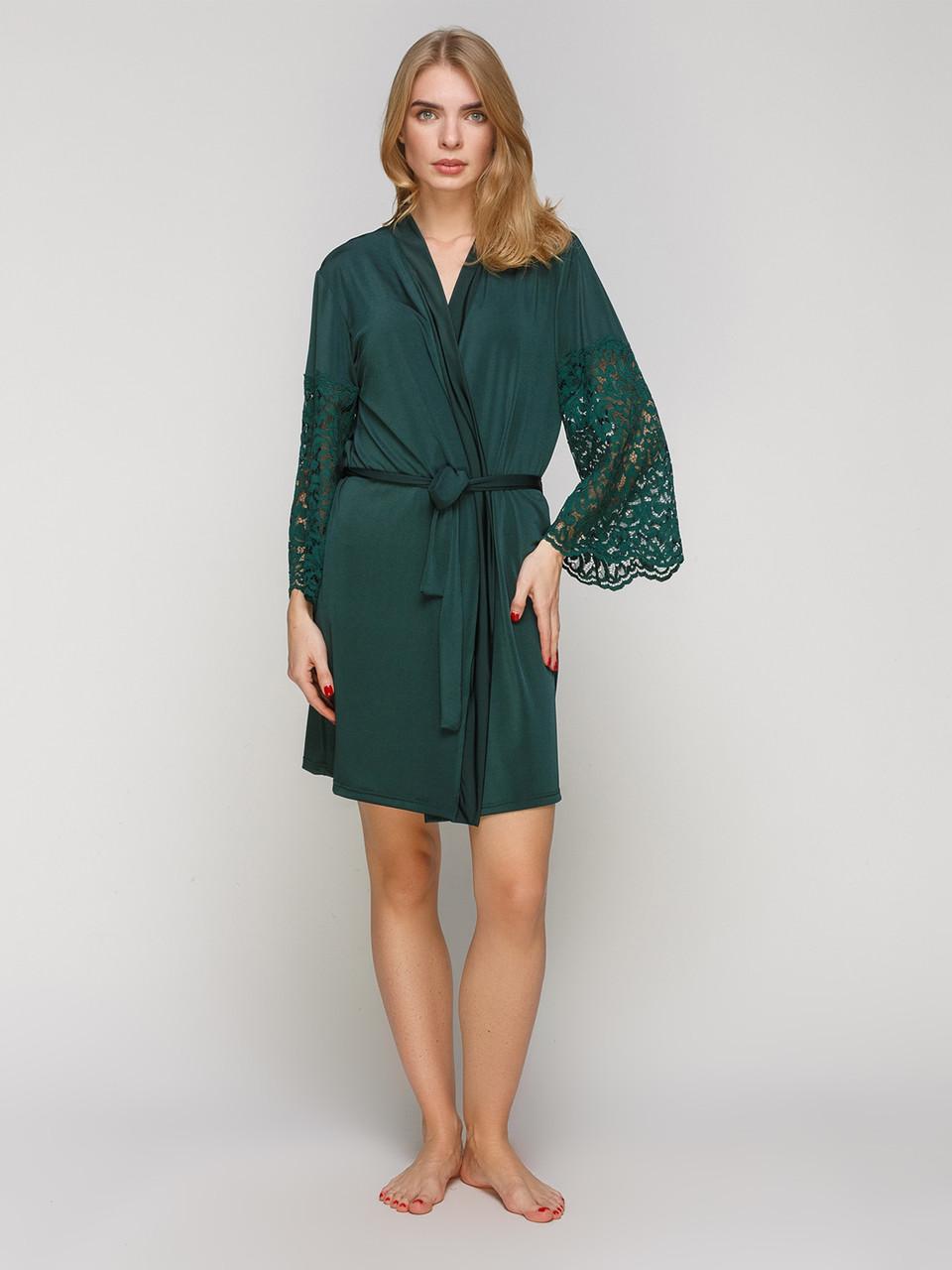 Халат Serenade микрофибра зеленый с кружевом