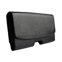 Кожаный чехол на пояс DCase SQ для телефона Samsung Galaxy S10 Plus Черный DC101h, КОД: 1317103