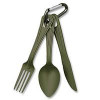 Набор: ложка, вилка, нож Mil-Tec олива Niezb?dnik Lexan (14628101)