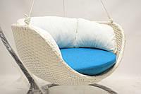 Качель-гамак Cruzo Сингл Ei искусственный ротанг Бело-синий kg63757, КОД: 741911