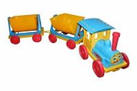 Поезд-конструктор 2 прицепа 013118 голубой
