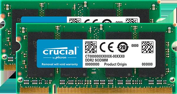 Оперативная память SODIMM 4GB Crucial (2 x 2GB) DDR2-800 (CT2KIT25664AC800)