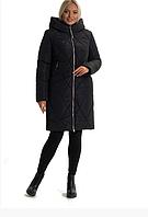 Женский пуховик зимний молодежный на молнии с капюшоном большого размера 44-56 р цвет черный