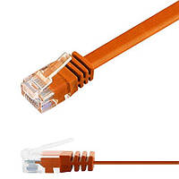 Патч-корд 0,5м Ligawo 1014190.0 RJ45 Cat6, 1-Gigabit, плоский, оранжевый, фото 1