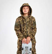 Куртка детская камуфляж OUTDOOR Вулкан Soft-Shell на флисе цвет Пиксель, фото 2