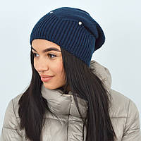 "Женская шапка с камнями ""Кристина"" синий, фото 1"