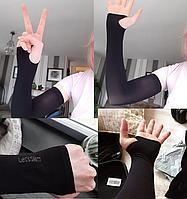 Защитные рукава для велопробега,пробежки, фитнеса Lets Slim (Черный цвет)