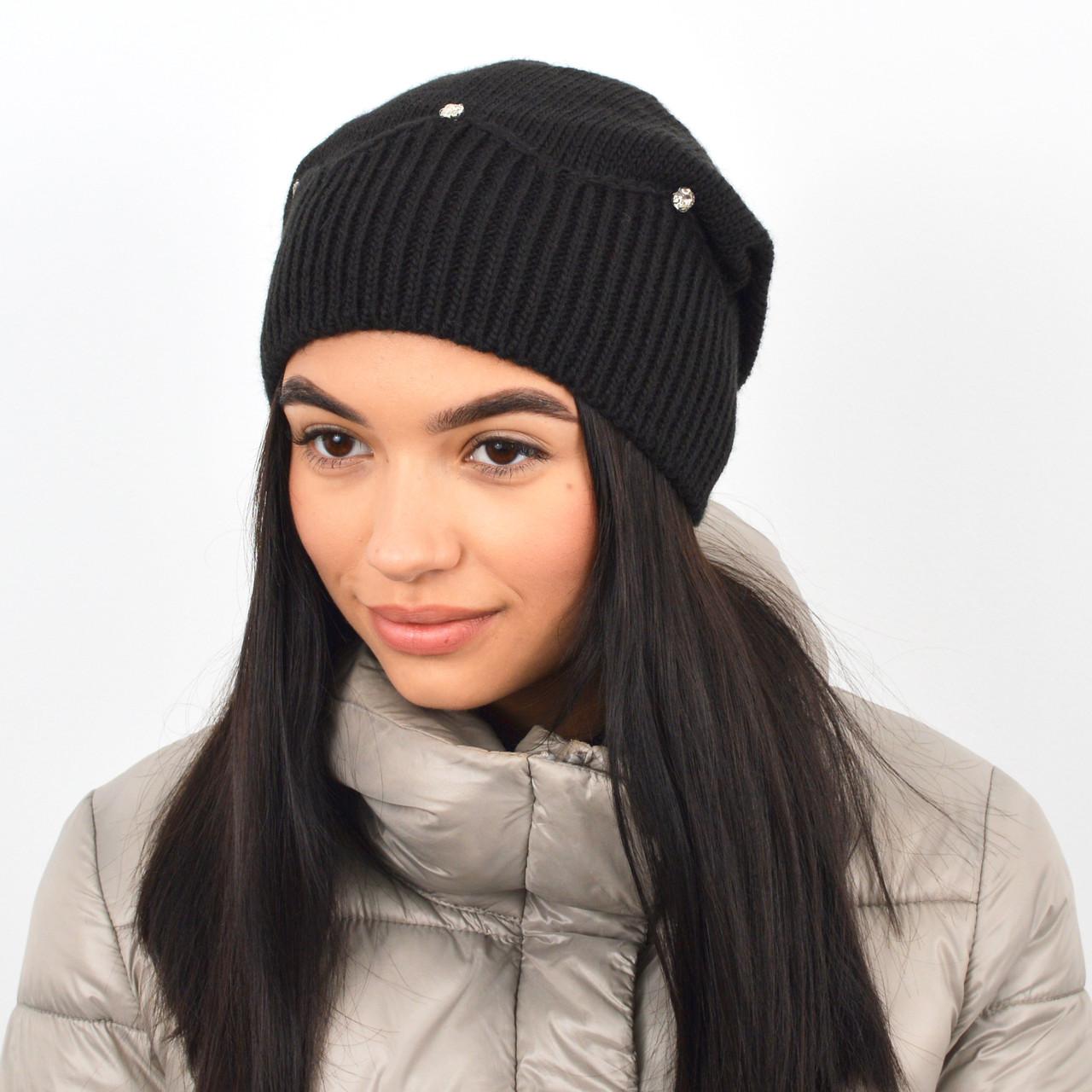 """Женская шапка с камнями """"Кристина"""" черный"""