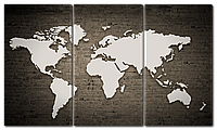 Модульная картина Interno Холст Карта на кирпичной стене  104х58см (R5583M)