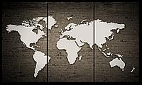 Модульная картина Interno Эко кожа  Карта на кирпичной стене  124x70см (A5583L)