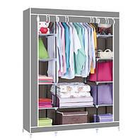Портативный тканевый складной шкаф-органайзер для одежды 3 секции металлические перекладины Серый, КОД: 1331145
