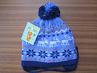 """Детская шапка для мальчика плотная двойная вязка """"Олени""""."""