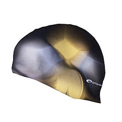 Шапочка для плавания Spokey Abstract для взрослых Onesize Черно-желтая s0127, КОД: 213070