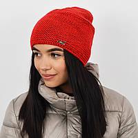 """Женская шапка """"Цепочка"""" красный, фото 1"""