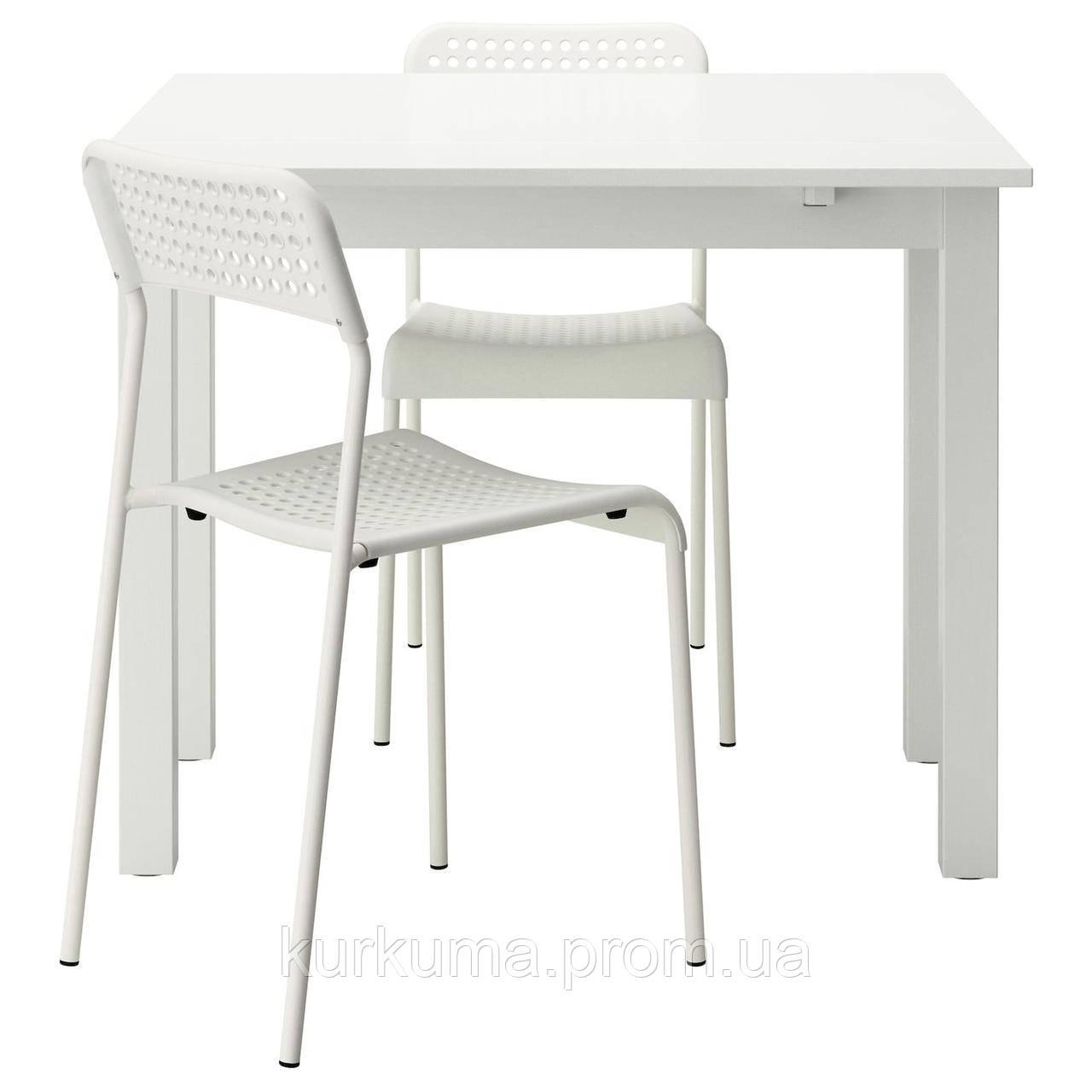 IKEA BJURSTA / ADDE Стол и 2 стула, белый, 50 см (190.107.25)