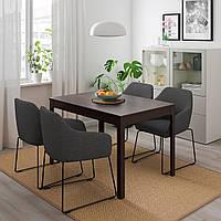 IKEA EKEDALEN / TOSSBERG Стол и 4 стула, металлический серый, темно-коричневый, (992.880.26)