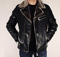 Мужская стильная куртка кожзаменитель косуха прямая зимняя на меху