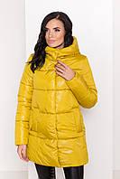 """Куртка муховик женская желтая теплая  """"ТЕХАС ЛАКЕ 8238"""", фото 1"""