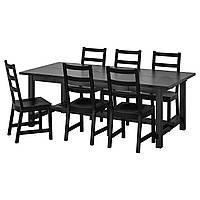 IKEA NORDVIKEN / NORDVIKEN Стол и 6 стульев, черный, черный, 210/289x105 см (793.047.63)