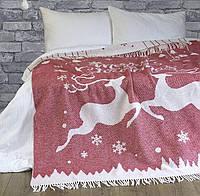 Новогодний Плед  Покрывало Lotus Zeus - Deers красный 140*200