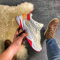 Женские кожаные кроссовки Nike M2K Tekno Beige Red бежевые с красным