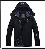 Зимние теплые мужские куртки на искусственном меху спортивный стиль черный цвет