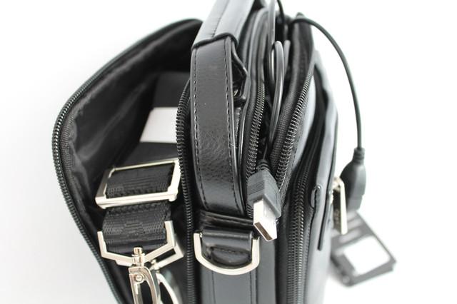 Сумка для мужчин из кожзама с USB-разъемом Polo B395-1