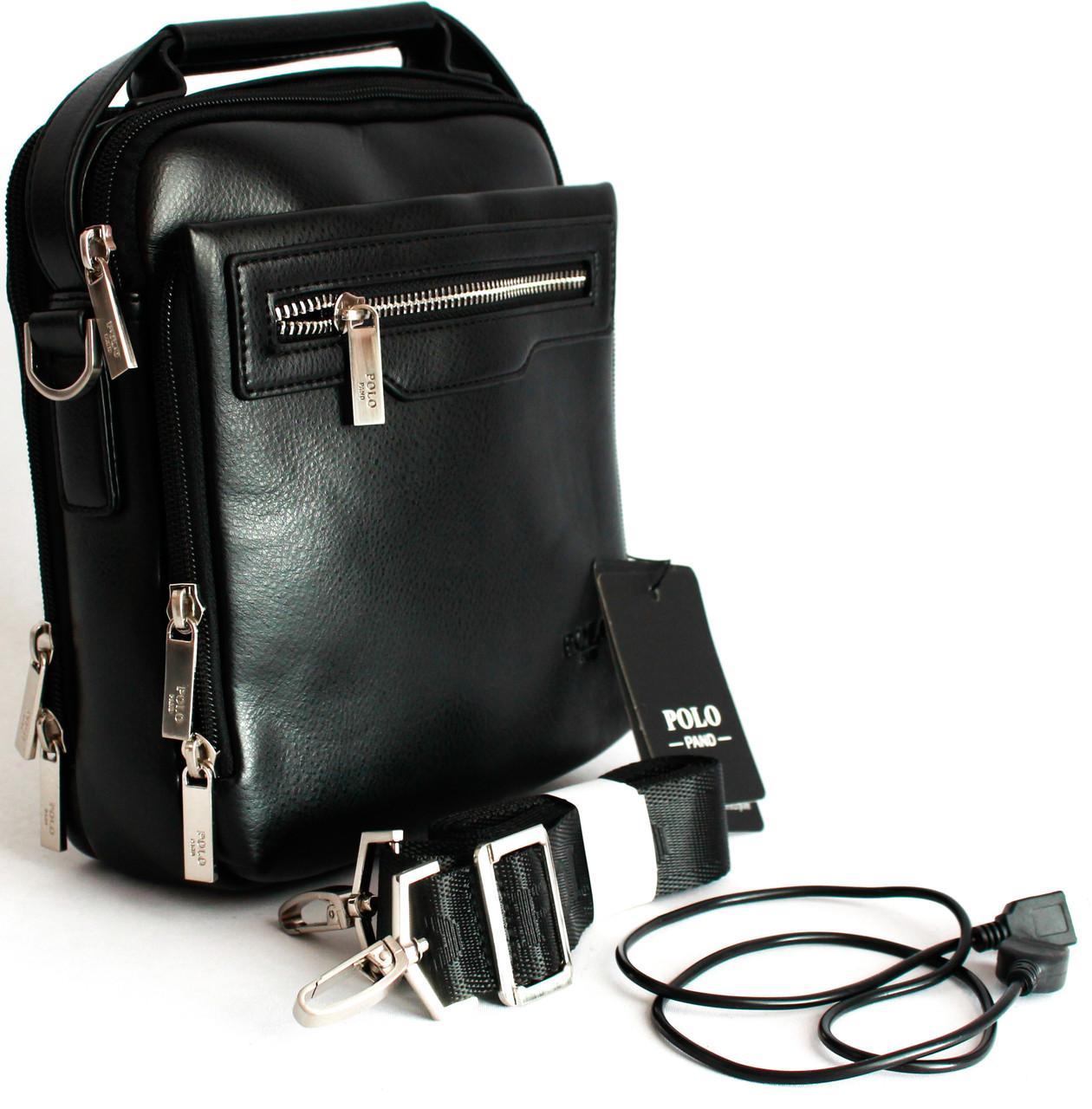 Элегантная мужская сумка через плечо с USB B395-3