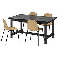 IKEA NORDVIKEN / LEIFARNE Стол и 4 стула, черный, Броринг черный, 152/223x95 см (993.051.77)