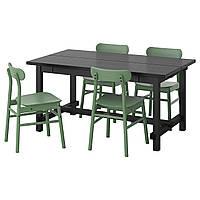 IKEA NORDVIKEN / RONNINGE Стол и 4 стула, черный, зеленый, 152/223x95 см (993.051.58)