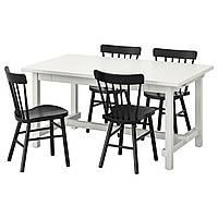 IKEA NORDVIKEN / NORRARYD Стол и 4 стула, белый, черный, 152/223x95 см (893.051.73)
