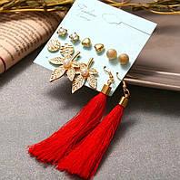 Комплект, набор серьг VS-003/бижутерия/цвет золото, красный
