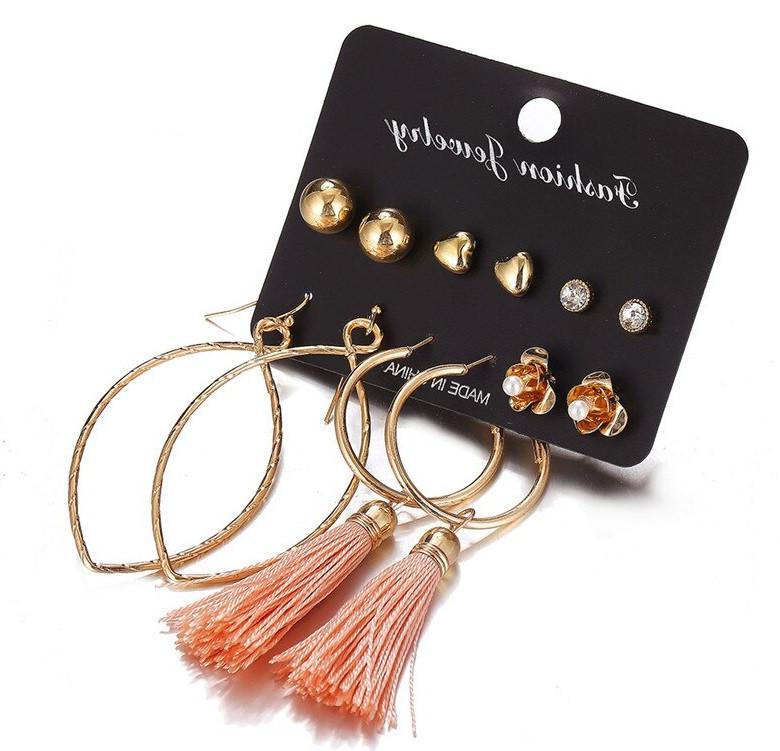 Комплект, набор серьг VS-005/бижутерия/цвет золото, персик
