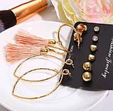 Комплект, набор серьг VS-005/бижутерия/цвет золото, персик, фото 3
