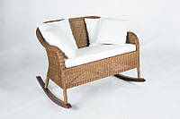 Плетеное кресло-качалка на двоих Cruzo Рокин Лавсит из натурального ротанга Коричневое kk0013-110, КОД: 741544