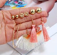Комплект, набор серьг VS-008/бижутерия/цвет золото, персик, беж