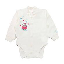 Теплий бодік для новонароджених BD-19-25 *Милашки* (колір молочний, розмір 62)