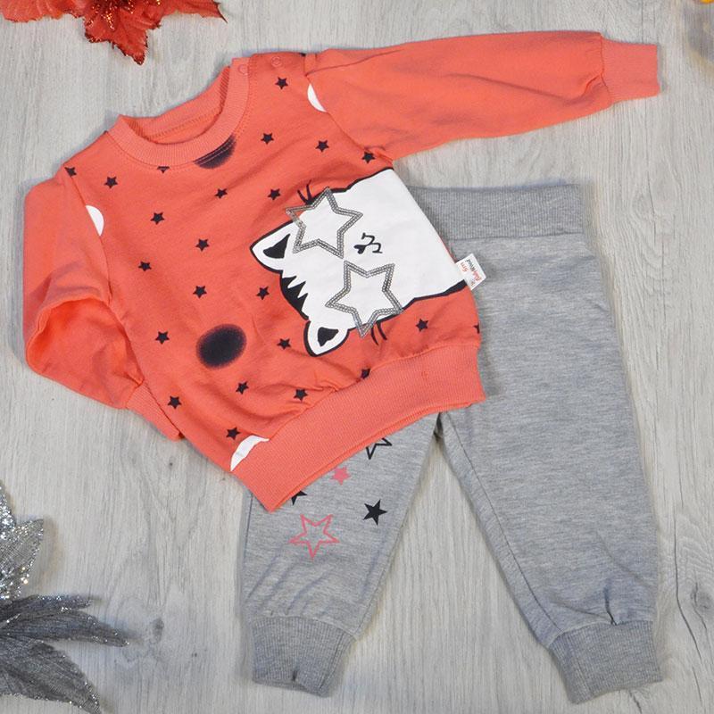 Детский костюм  (батник, штаны), трикотажный,  для девочек 6-9-12-24 мес. (4 ед в уп)