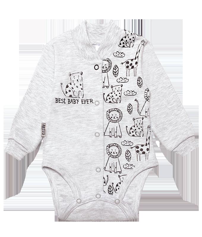 Бодик для новорождённых BD-19-26-1 *Зоомир* (цвет серый, размер 62, 74)