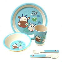 Набор посуды детской бамбуковой Eco Bamboo 5 предметов MH-2772 Blue 008850, КОД: 1050009