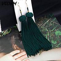 """Серьги кисти богемные """" Плетение"""" цвет зеленый"""