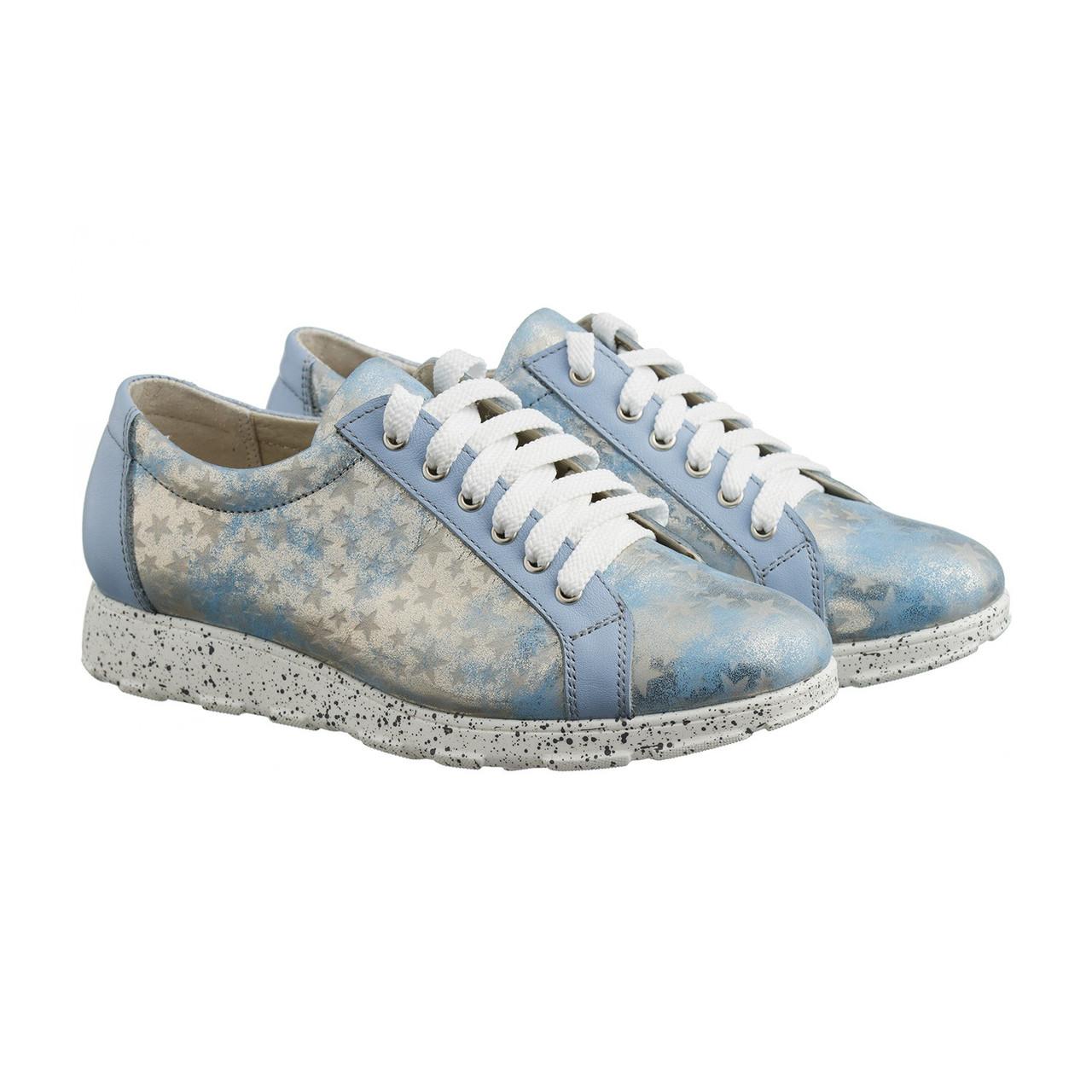 VM-Villomi Кожаные кроссовки голубого цвета с оформлением звездочка