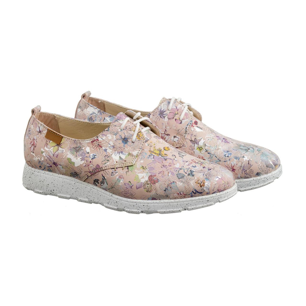 VM-Villomi Розовые кроссовки из натуральной кожи в цветочек