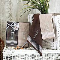 Набор вафельных полотенец для кухни хлопок Karna, Шоколадный, 40х60-2шт