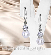 Сережки з білим перлами і цирконом срібло Розін