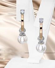 Сережки з білим перлами і цирконом срібло Кларис