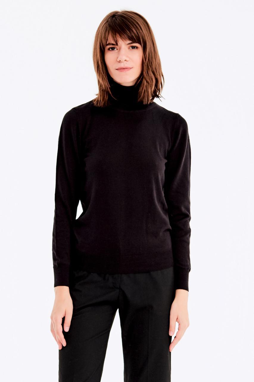 Шерстяной гольф женский черный теплый прямого кроя размеры до 52го