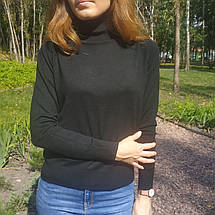 Шерстяной гольф женский черный теплый прямого кроя размеры до 52го, фото 3